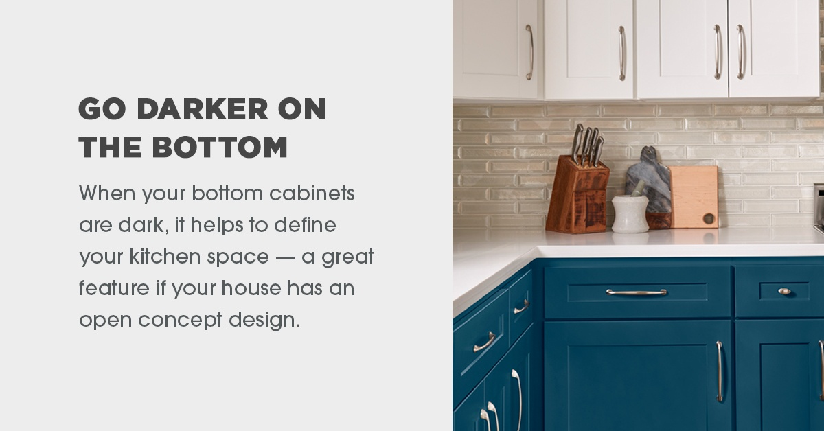 Go Darker on Bottom Cabinets