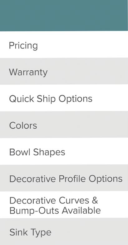 Vanity Tops Features