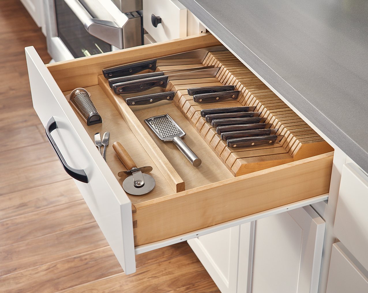 White Cabinet Drawer with Knife Storage