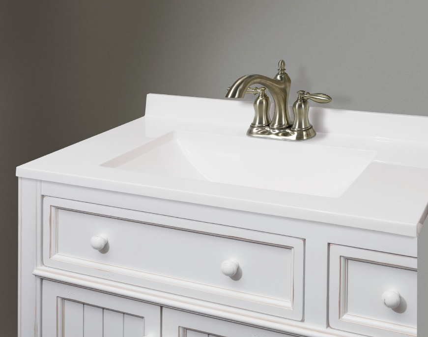 White Cultured Marble Vanity Top