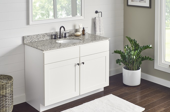 Wolf Classic Cabinet in White Paint & Granite Vanity Top in Tiger Skin White