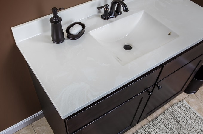 Wolf Classic Cabinet in Dark Sable Stain & Cultured Marble Vanity Top in Cloud White