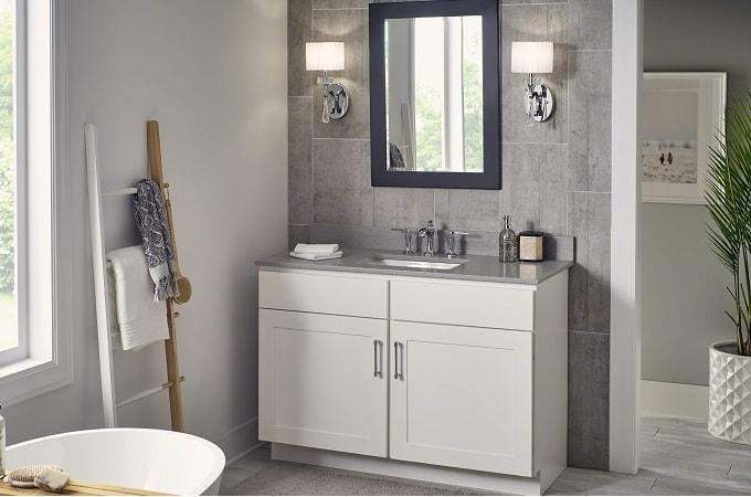Wolf Classic Cabinet in White Paint & Quartz Vanity in Sterling