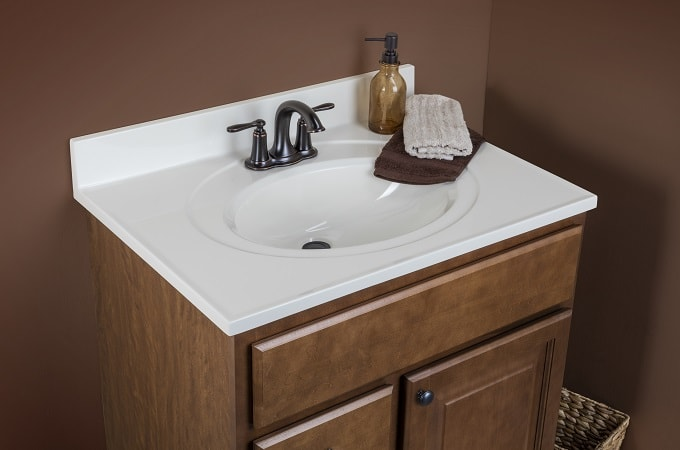 Wolf Classic Cabinet in Chestnut & Cultured Marble Vanity Top in Linen