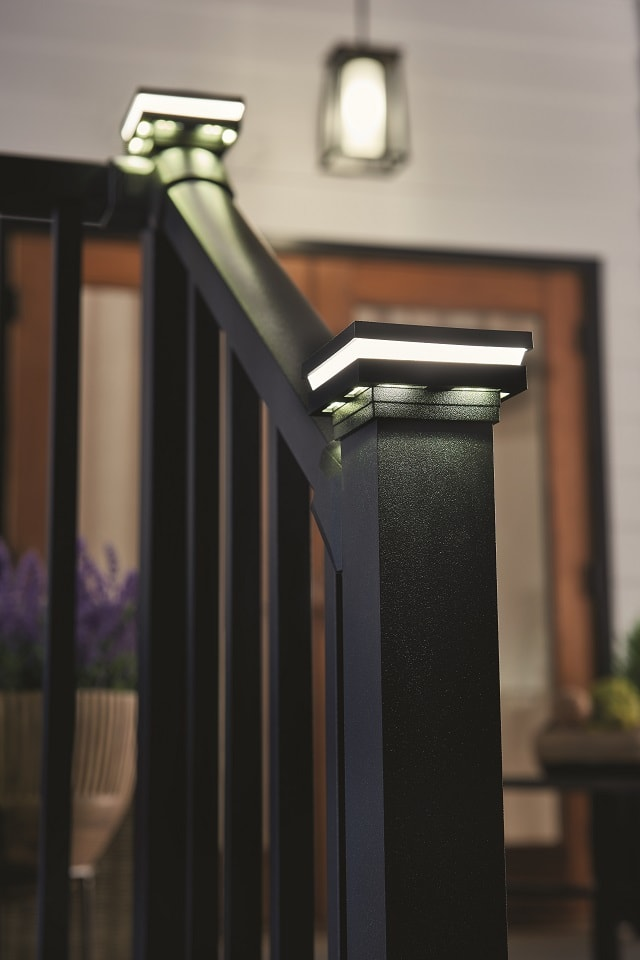 Wolf Outdoor Lighting & Westbury Railing in Textured Black