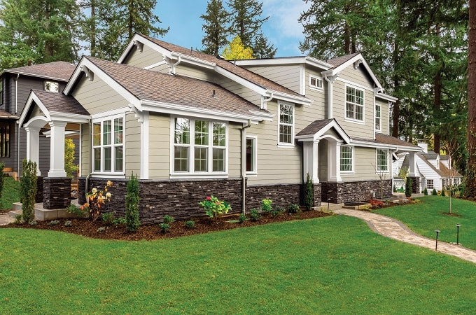 Wolf Portrait Siding in Riverstone