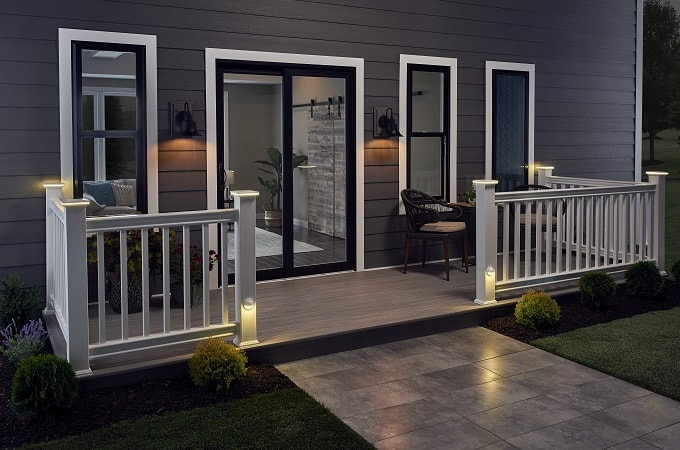 Wolf Serenity Decking in Silver Teak feat. Outdoor Lighting & Distinction Railing in White