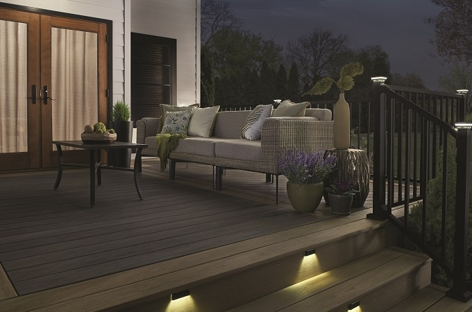 Wolf Serenity Decking in Amberwood & Black Walnut feat. Outdoor Lighting & Westbury Railing in Textured Black