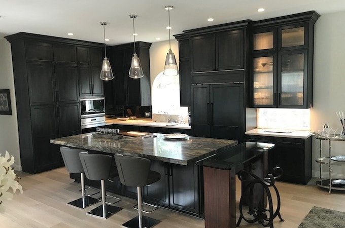 Wolf Designer Kitchen Cabinetry in Charcoal Stain With Black Glaze