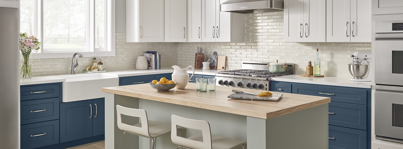 White & Blue Two Tone Kitchen Cabinets