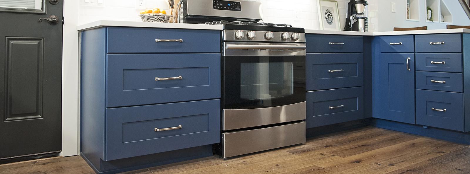 Wolf Designer Cabinets in Custom Blue