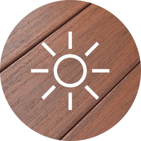 PVC Decking Closeup with Sun Icon