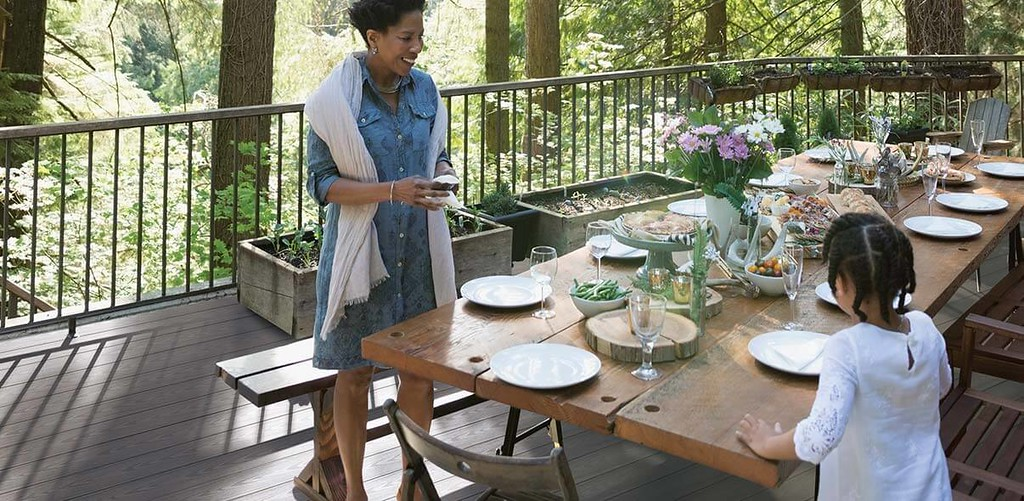 Setting Outdoor Table on Composite Deck