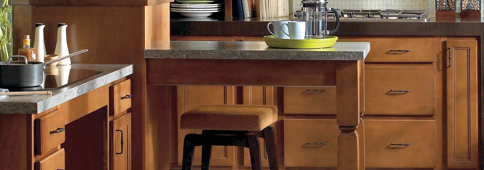 Wolf Cabinetry with Stool and Green Tray