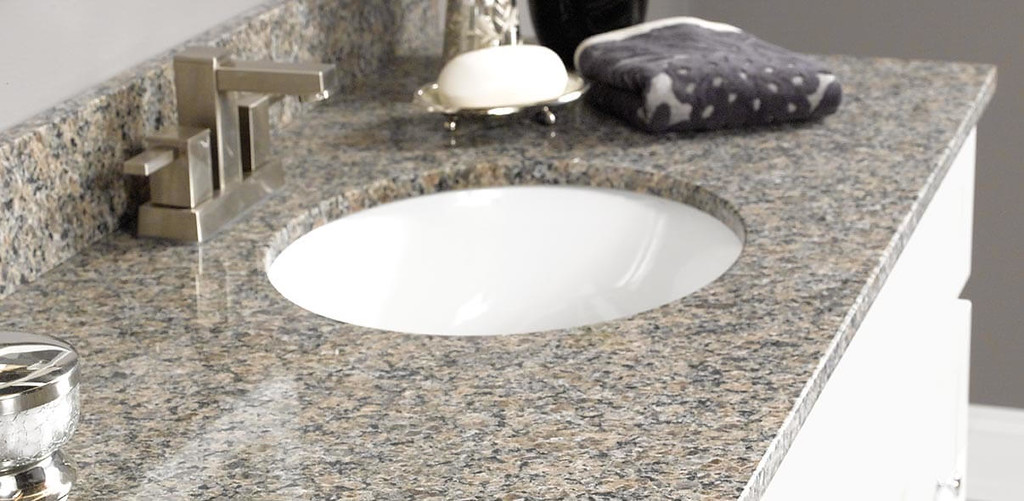 Natural Granite Vanity Top with Soap and Towel