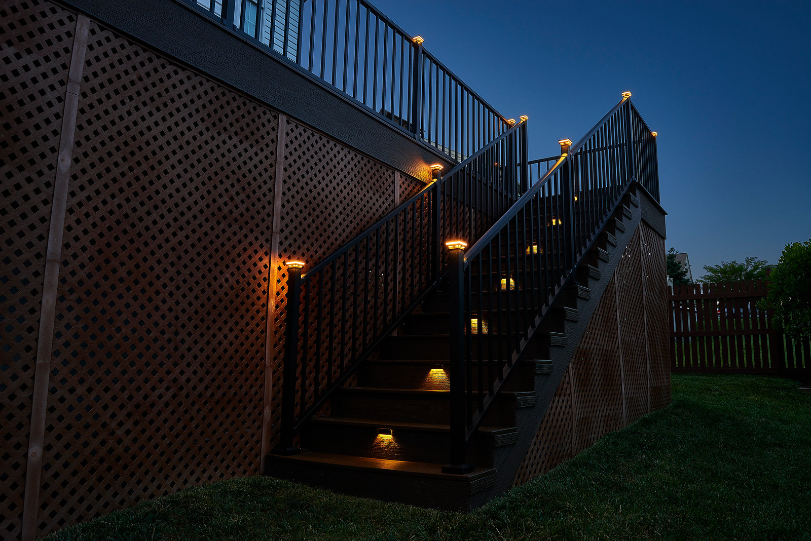 Wolf Outdoor Lighting on Railing