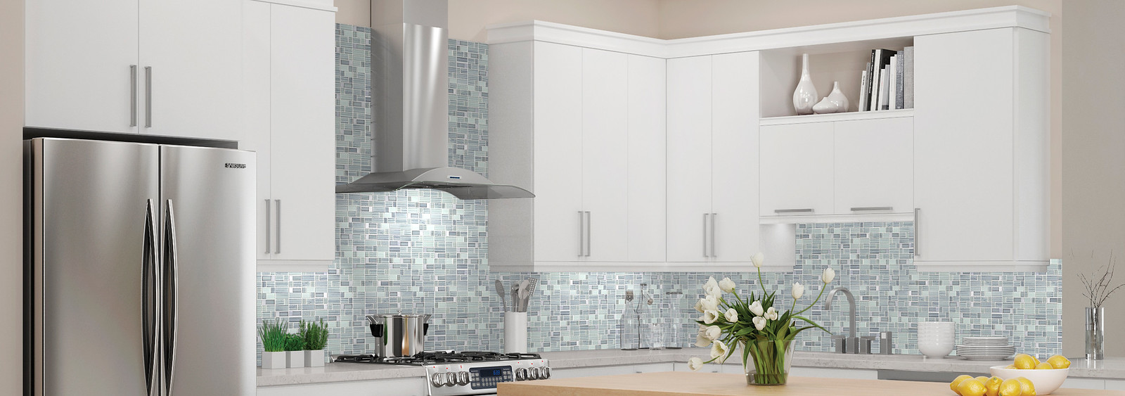 Sterling Mosaic Backsplash with White Kitchen Cabinets